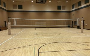 Volleyball net up in gym
